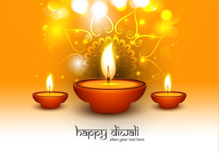 Rangoli oil lit lamp happy glowing shiny flora Diwali design deepawali celebration card calligraphy bokeh background
