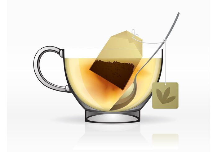 teacup Tea bag tea spoon render realistic liquid hot herbal Healthy drinks cup brew breakfast beverage 3d