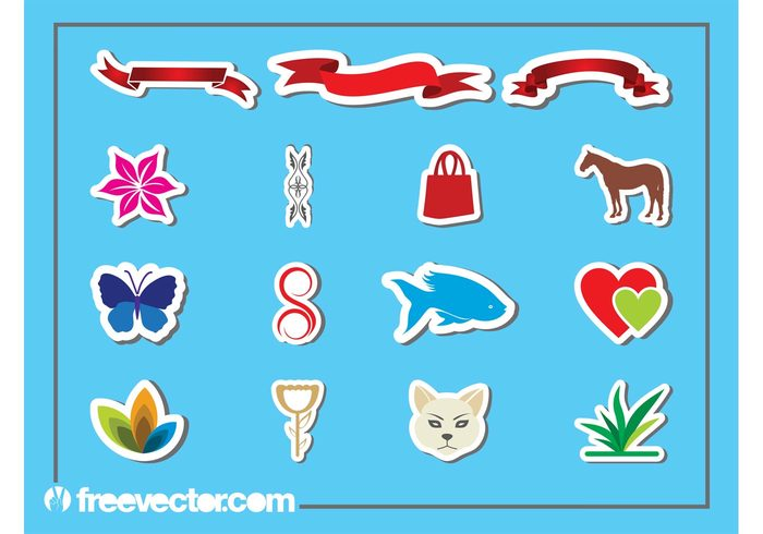swirls stickers sticker scrolls ribbons purse plants lines horse hearts flowers floral fish cat butterfly