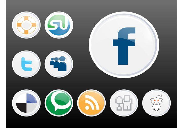 web twitter technorati tech StumbleUpon Social networks RSS reddit online Myspace internet icons glossy Facebook DIGG delicious