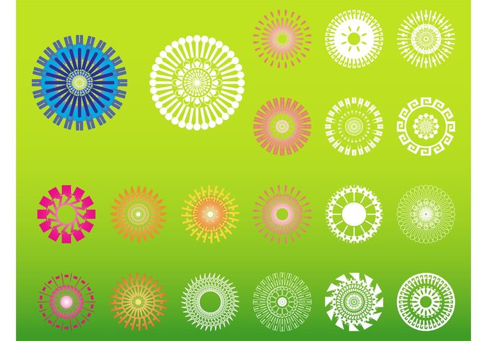 templates stickers nature logos icons geometric shapes floral decorative decorations colorful circles abstract