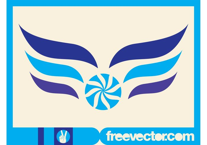 wings winged template logo lines icon flower floral circle branding abstract