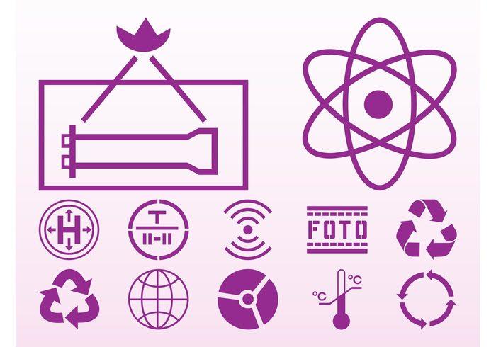 trash thermometer temperature symbols snowflake science Prohibition icon person No Smoking icons circles atom arrows