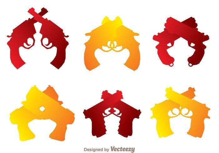 weapon symbol silhouette revolver red police pistol orange gun fire danger crossed guns crossed gun crossed cross crime
