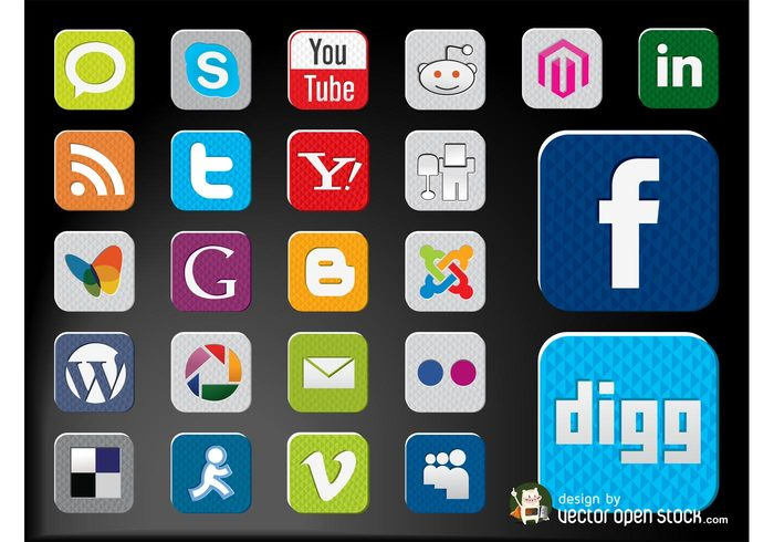 youtube websites web twitter technology social networking sharing Services online logos internet icons Facebook