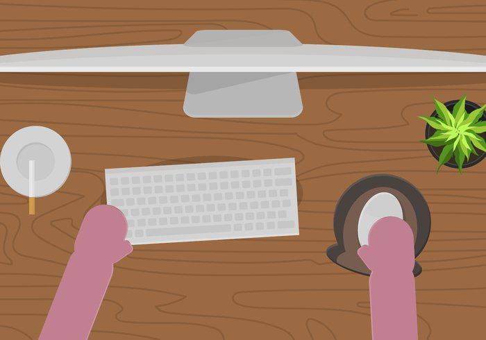 Wrist workplace working worker wooden wood Wired view trackpad top technology table student screen pc pad online office objects notebook mug mousepad mouse pad mouse monitor message laptop keyboard internet hand fingers Ergonomic Employment electronic education device desk cup corporate computer coffee business blue background accessory Above