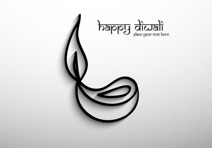 outline oil lit lamp happy gray festival Diwali deepawali curve celebration card calligraphy black background