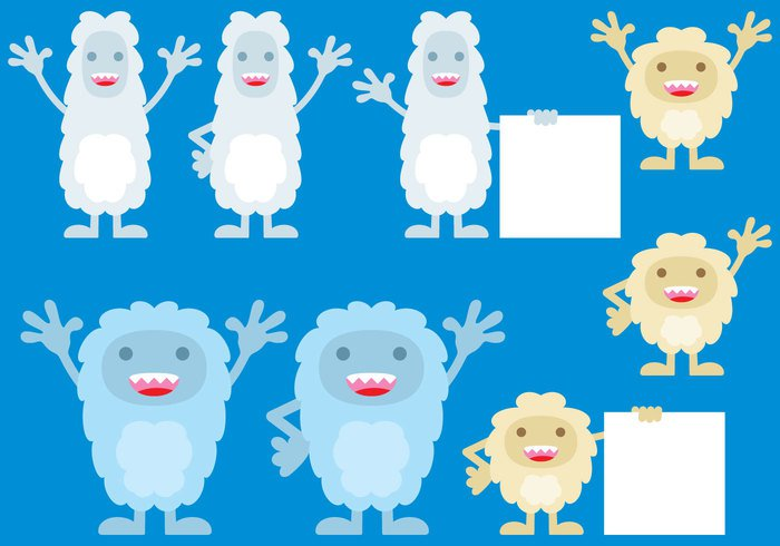 yeti winter white weather vector symbol standing snowflake snow scene nature monster mascot male kind illustration humor Human hairy hair grimacing Gesturing Genetic Furious fur funny fun frost facial face expression Eccentric displeased cute cold characters cartoon boy blue Bizarre beast background ape animal alien
