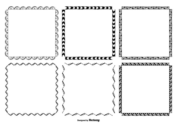 white vintage vector frames vector square frames square sketch frames sketch shape set scrapbooking scrapbook retro picture pattern ornate Messy line isolated illustration hand drawn graphic frame set frame element drawn frames drawn drawing doodles doodle frame doodle design element design decorative decoration cute frames cute color circle cartoon card black banner background art