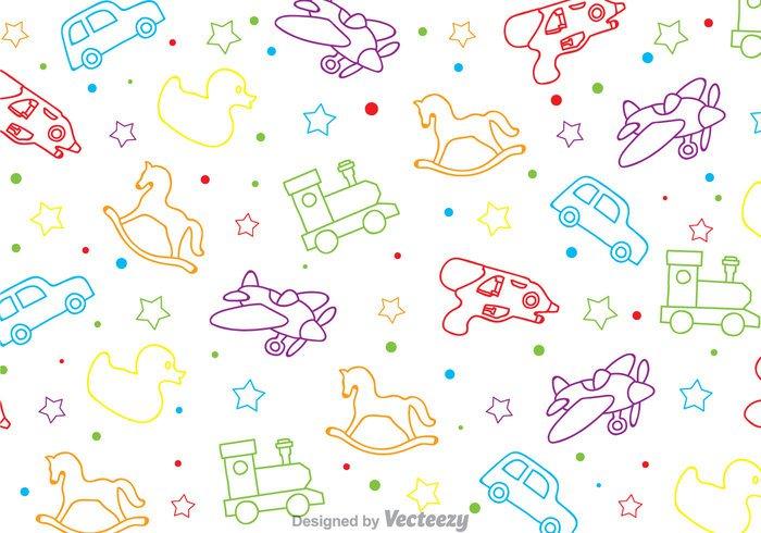 water gun wallpaper train toys seamless pattern outline horse gun duck colorful car background