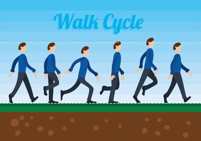 walking Walk Cycle walk side view profile people motion graphic illlustration Faceless cycle character background animation