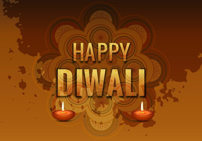 typography religion Rangoli oil lit lamp india happy Diwali deepawali composite celebration card brown background