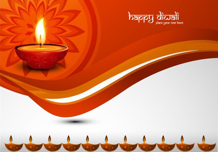 wave oil lit lamp happy font flower flora diya Diwali deepawali celebration card calligraphy background