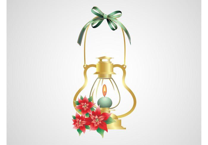 shiny ribbon poinsettia light holiday golden gold flowers festive decorations christmas celebration candle