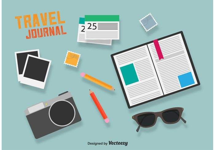 voyage vacation trip travel tourism tour sunglasses summer stamp simple route rest postage planner journal planner notebook note Journey journal flat daily planner business booking