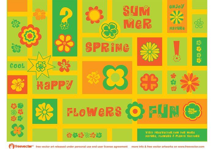 summer spring nature Mondrian happy fun fresh flowers flower vectors floral dingbats clip art 70's 60's