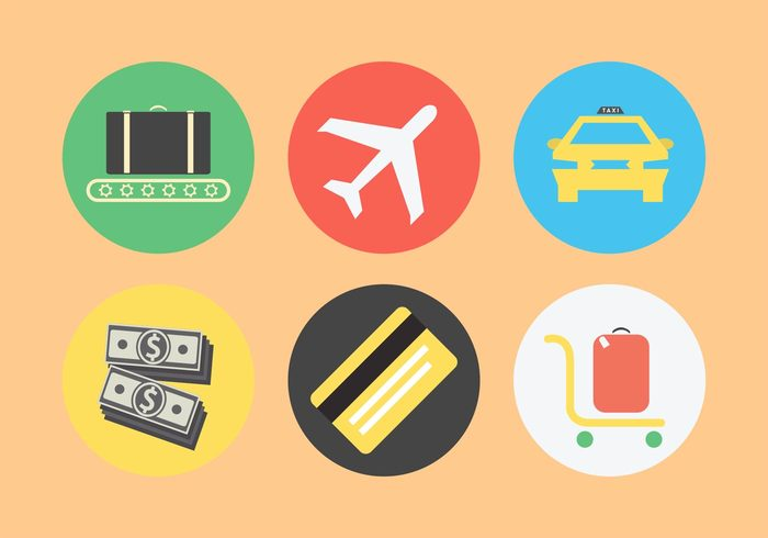 travel transit suitcase security plane passport money luggage illustration flight flat design Customs custom credit card conveyor belt control cab baggage airport airplane