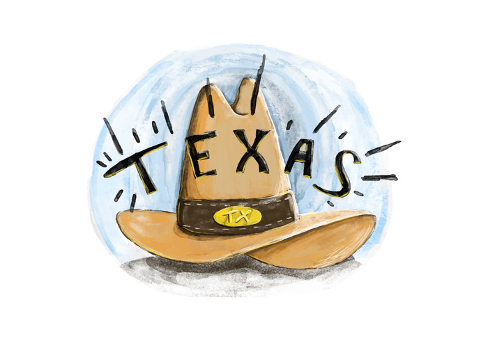 watercolor texas san antonio rodeo paiting Lettering leather illustration houston hat Dallas cowboy brown background austin