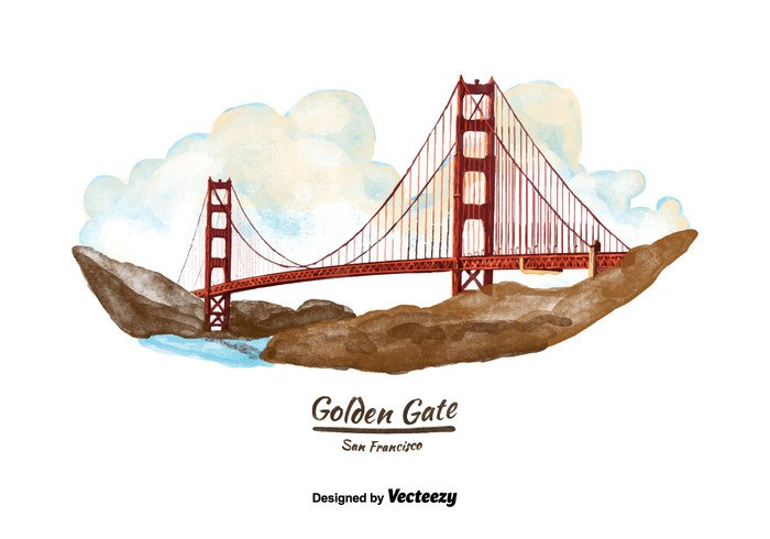 watercolor vacation travel painted landscape landmark golden gate francisco drawing california Bridge background art architecture