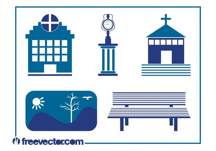 urban tree symbols stylized park icons hospital hill cross Clock tower city church buildings bench