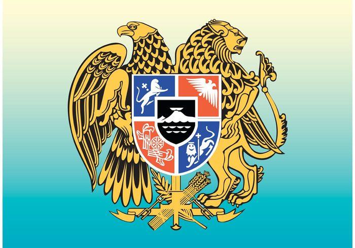 Souvenir shield Republic national nation lion heraldry heraldic flag eagle dragon decoration culture cross arms Armenian Armenia antique ancient