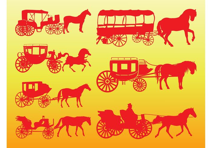 wheels wagon vintage vehicles transport silhouettes silhouette Omnibus old Livestock horses carriage Cabriolet