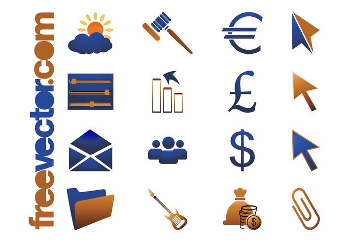 weather users symbols sun pound pointers people paperclip money mail logos icons icon guitar graph gavel folder financial euro email electric guitar dollar currency court cloud arrows