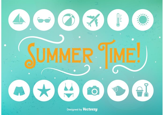 vacation tropical trip travel icon travel tourism time thermometer temperature symbol swimsuit Swim trunks swim suit sun summer icon summer starfish spring sign shovel sea plane icon flat diving bikini beach ball beach airplane