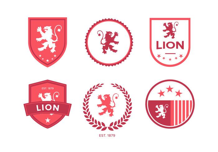 vintage symbol shield rampant pink logogram logo lion rampant lion knight king