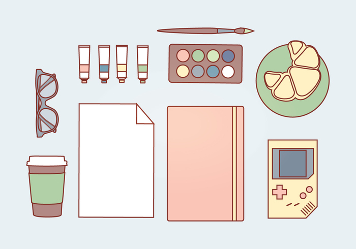 work space work place work paper paint notebook glasses gameboy game boy game food essentials elements desk accessories desk croissant coffee brush accessories