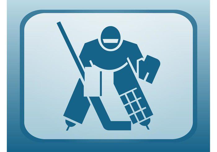 stylized stick sport silhouette player man icon ice hockey hockey game