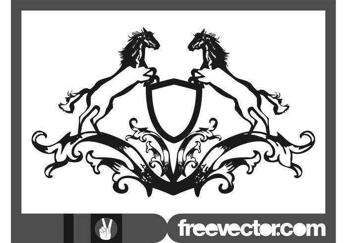 swirls shield scrolls royal horses horse heraldry heraldic coat of arms Blazon