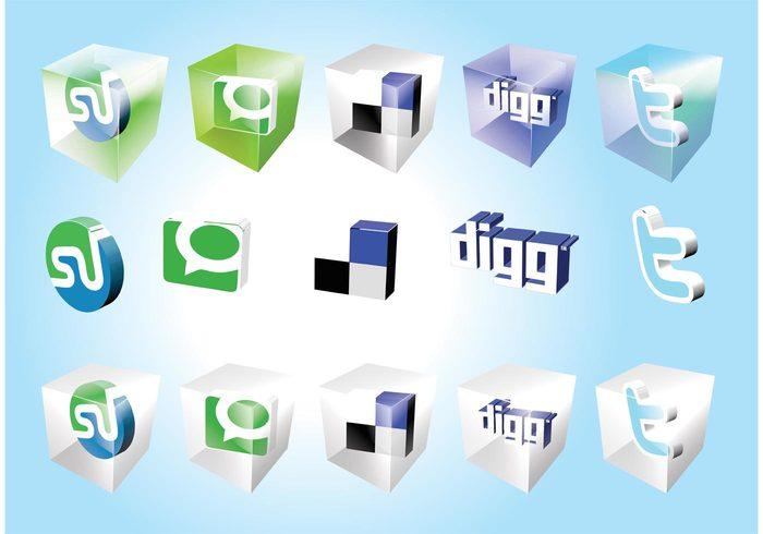 www web twitter technorati StumbleUpon square social media Social bookmark network logo icons graphics DIGG del.icio.us cool 3d
