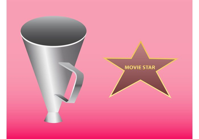 text shiny movie star metallic metal loudspeaker icon hollywood golden film famous Fame apps actress actor