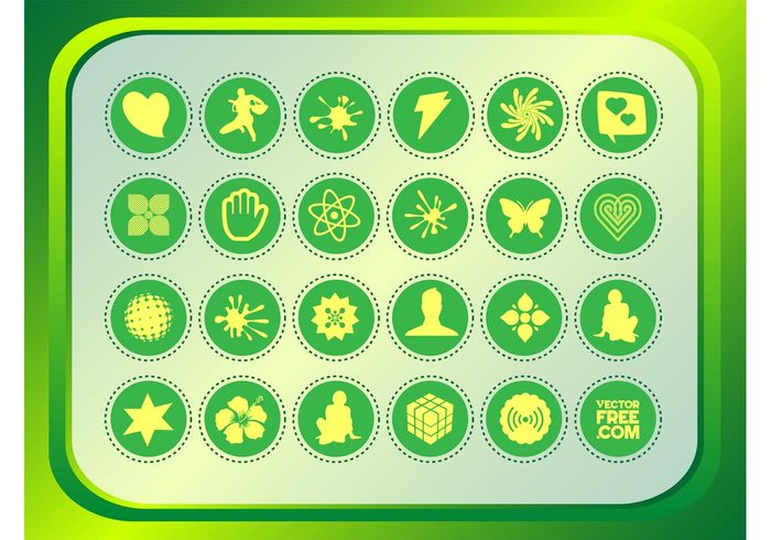 Vector footage stickers signs shapes Rubik promotion musician hibiscus Design Elements decals butterfly blossom badges