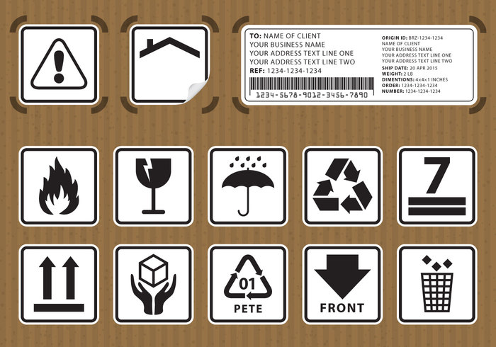 warning vector up umbrella transportation transport transfer tag symbol sticker sign side shipping set send recycle protection protect post Parcel paper packaging package pack object logistics label keep isolated icon handle with care sticker handle graphic glass fragile forklift flame element dry delivery crate collection caution carton cargo care cardboard box board background