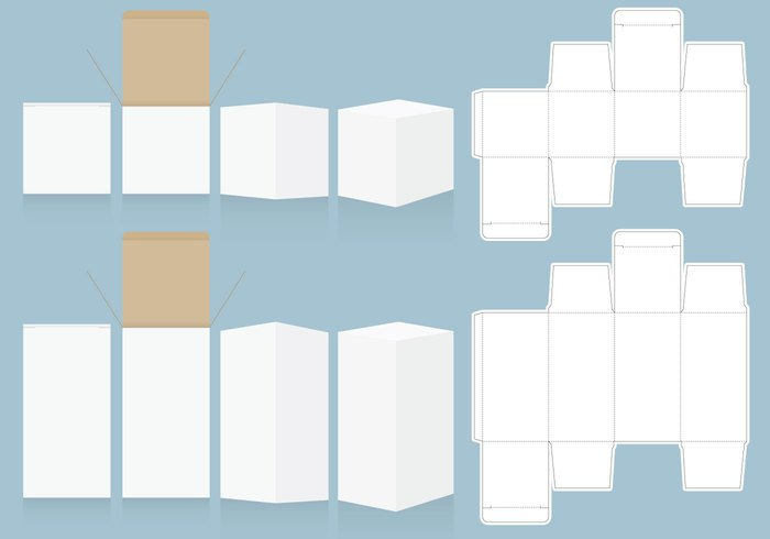 white vector unwrapped template storage small retail box retail rectangular product paper packaging package open object merchandise lid layout isolated industrial illustration folding Flop flip Flaps display die cut design container carton cardboard business box blueprint blue blank background 3d