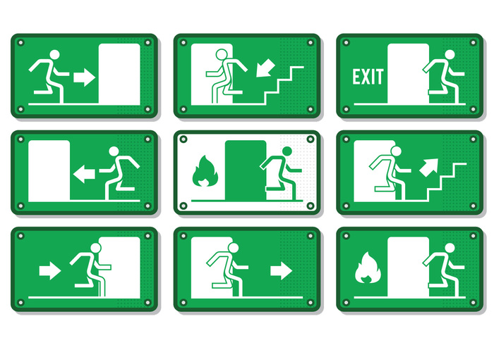 white warning vector upstairs up symbol signboard signal sign set security save safety Safe run right rescue placard pictogram notice Move left isolated illustration icon help hazard green graphics fireexit firealarm fire exit Escape emergency exit sign emergency downstairs down door direction danger collection caution board Beware banner background arrow alert alarm