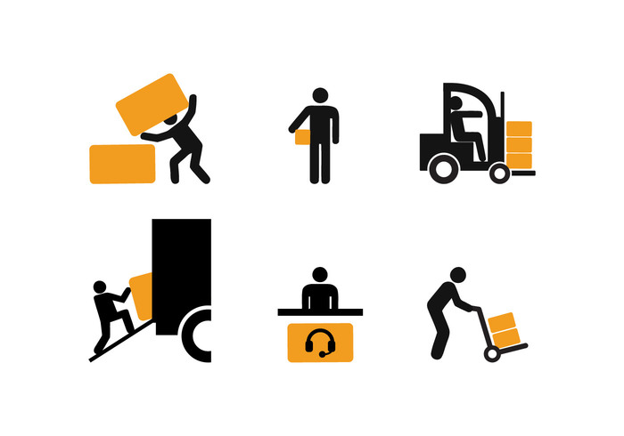 worker silhouette set pack logistic Job icon delivery man delivery courier box
