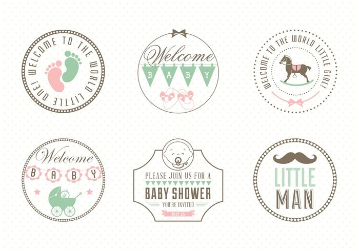 web vintage vector symbol sticker silhouette sign set rocking horse retro newborn new born baby new label it's a girl it's a boy isolated infant illustration icon header graphic footprint foot element design cute collection clipart child baby
