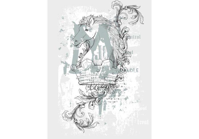vintage textures royal Pen and ink illustration horses grunge filigree distress design crown antique animals aged