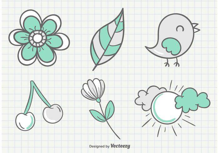 summer spring sketchy bird sketchy sketch paper notepaper notebook love leaves leaf hand drawn bird hand drawn funny flower doodle decorative cute cherry cherries birds bird