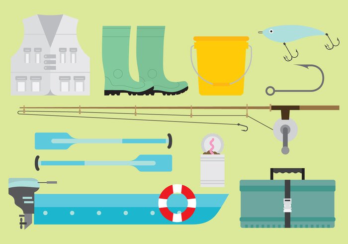 worm weight water vintage vest vector vacation tools sport shoes seafood sea rod river ring retro relax Recreation pole pocket pants pail Outdoor oar motor line icon hook Hobby help hat fun fly fishing float flat fishing rod fishing fish-hook fish design collection cloths can buoy bucket boots boat bait background anchor