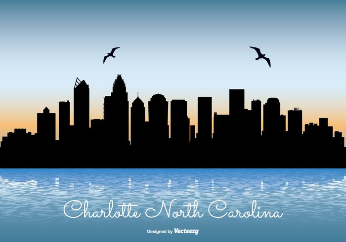 waterfront water vacation united states travel tower sunrise skyscraper skyline sky silhouette shoreline shore scraper reflection north carolina modern landmark lake illustration front downtown Destination day corporate coast cityscape city skyline city charlotte skyline charlotte business building blue beautiful background architecture america