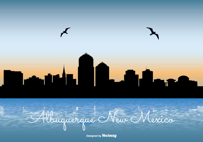 USA United travel tall sunset sunrise states skyscraper skyline sky silhouette scraper reflection new mexico skyline new mexico modern landmark illustration high front downtown day dark coast cityscape city skyline city buildings building blue beautiful background architecture america albuquerque skyline albuquerque