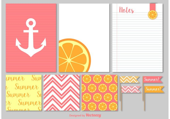 template summer background summer sticker scrapbooking scrapbook personal pattern paper page organizer orange notepad notebook note list label fruit document diary cute citrus background citrus blank background anchor