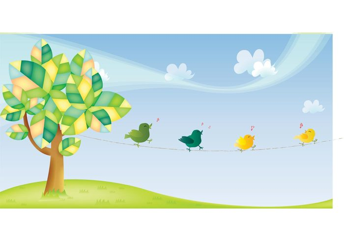 wire tree swoosh Song sky sketch singing Sing ribbon music notes leaves flock drawing colorful Chirping Chirp cartoon cable birds bird