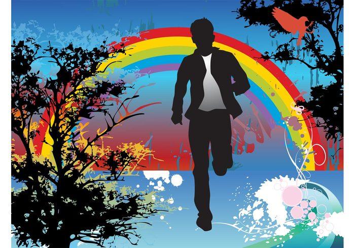 trees splatter splashes silhouettes running run rainbow nature man jogging Jog grunge flowers bird abstract