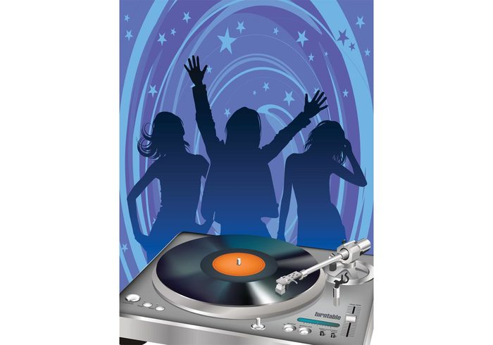 turntable trance tech Spin sound silhouettes rock record rave print poster people party nightlife music mixing girl flyer electronic DJ disco dancing dance crowd clubbing club boy Beat audio audience
