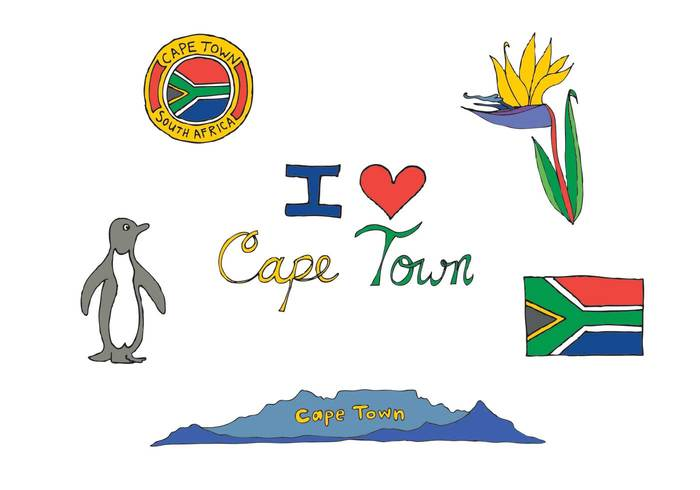 traveling travel town south africa penguin mountain flower flag cape town cape bird of paradise africa